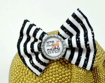 ZERO FOX GIVEN - Round Glass Dome cabochon on black and white striped fabric Hair Bow on Alligator Clip