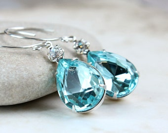 Blue  Glass Earrings  Vintage Style Jewelry  Sterling Silver  Turquoise  Teardrop  Earrings Sparkly Glass Jewelry  Gifts For Women