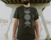 Moon Phases t shirt - mens graphic tee - lunar phase print on heather black - astronomy shirt for men - gift for him - moon shirt