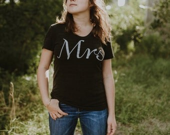 Mrs. Tshirt, womens graphic tee, t shirt women, gift for her, bride gift, wedding gift, Valentines Day