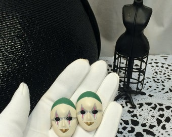 Vintage  80s Masquerade Mardi Gras Carnival Face Mask Earrings