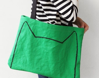 Green Cat Market Tote Bag - back to school supplies - gift for cat lover - market bag - cat lady gift - cat ears - screen printed