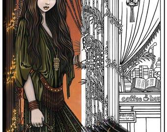 Rhianon - Bohemian Girl - Fairy Art - Digital Download - Coloring Page - Myka Jelina Art - Coffee House - Hippie Art
