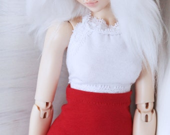 BJD Doll Minifee clothes MSD clothing White lace halter Crop Top MonstroDesigns