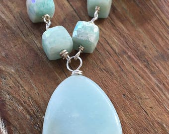 Sterling Amazonite Dragonfly Necklace
