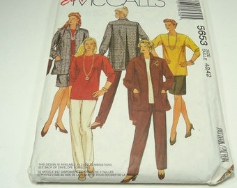 Easy McCall's Woman's Jacket, Top, Skirt, And Pants Pattern 5653 Size 40, 42