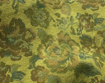 11 Yards of Vintage 1970's Era Heavy Avocado Green Floral Mod Upholstery Fabric