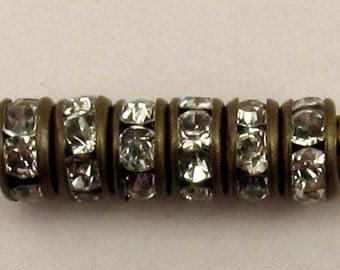 Rhinestone Rondelle Spacer Antique Brass, Crystal 4.5mm 6 Pc. C220