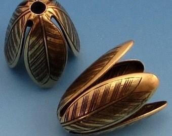 Flower Bead Cap, Brass Ox, 20 MM,  2 Pieces, AB121