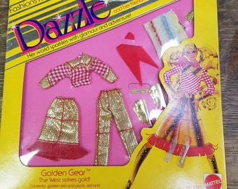 1981 Dazzle Barbie Fashion, Golden Gear, The West Strikes Gold, Doll Clothes, Golden Skirt, Pants, Shirt, Scarf Belt, Original Package