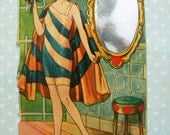 Vintage Unused 1920's Valentine's Day Card Flapper Sailor Girl in Bathing Suit with Mirror Germany