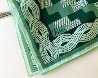 Vintage Vera Green Scarf, Geometric Pattern, Neck Scarf, Polyester Scarf, Made in Japan