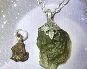 HOLD for WIN Moldavite Pendant Chain Necklace With Freebie Sikhote Alin Meteorite Dog Charm Pendant
