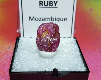 Sale Rare RUBY Natural Bright Red Corundum Crystal In Perky Mineral Speicmen Box From Mozambique