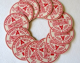 Vintage Milk Bottle Caps - Farmhouse style - Amboy Dairy New York - Red and White - Scrapbooking Embellishments - Bakers Dozen