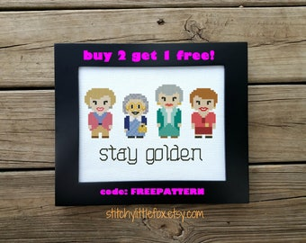 Golden Girls cross stitch pattern, funny cross stitch, instant download, counted cross stitch pattern pdf, sophia, blanche, dorothy, rose