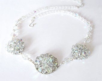 Iridescenet Aurora Borealis Crystal Necklace, Repurposed from Vintage Earrings and AB Crystal Glass Beads, One of a Kind, Party or Bridal