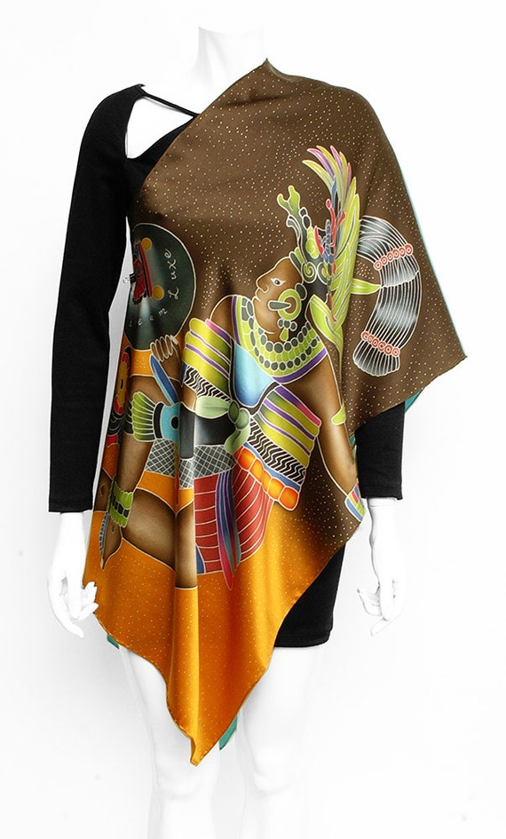 Hand painted Silk Scarf, Maya, Aztec Scarf, Eagle scarf, Hand made scarf, Mexican scarf, Unique silk scarf, Batik hand painted, Silk  scarf