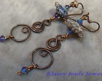 glass bead artisan artisan lampwork dangle copper
