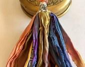 Sari Silk Tassel Necklace-Muted Multi Color Tassel-Boho Tassel Jewelry