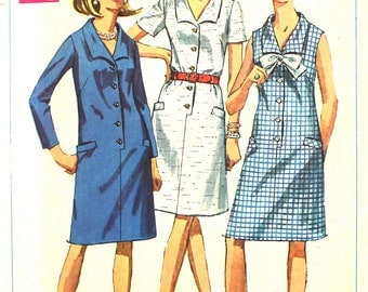 1960's Dress with Optional Bow Bust 37 Simplicity 7449 Vintage Sewing Pattern