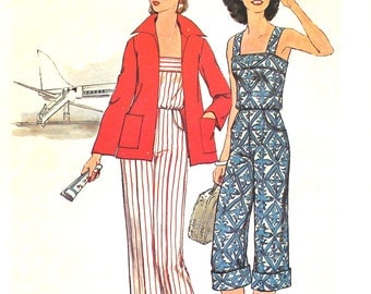 Jumpsuit with Cuffs or Without  Bust 34 Size 12 Simplicity 7487 Vintage Sewing Pattern