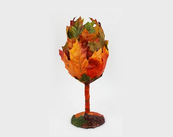 Autumn Leaf Goblet, Wine Glass, Cup, Flower, 15 oz., Fairy, Wedding, Woodland Cup, Renaissance Faire, Birthday, Drinkware, Mug