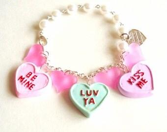 Conversation Heart Bracelet Valentines Day Charm Bracelet Pink Pastel Candy Bracelet Kawaii Jewelry Mini Food Jewelry Be Mine