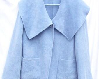 Vintage St John's Cashmere Angora Swing Coat Oversize Collar sz 6 Powder Blue