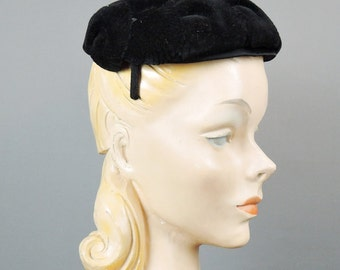 Vintage Hat Black Plush Velour with Scalloped, fits any size head, 1950s Evening Hat