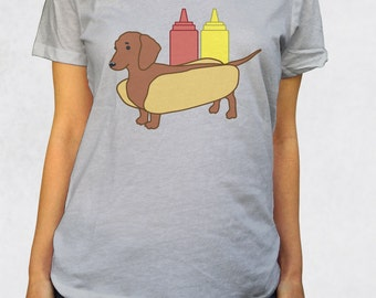 Ladies' Scoop Tee - Weenie Dog Shirt - Sizes XS-S-M-L-XL-2XL - Food Animal Hot Dog Pun Funny Ketchup Mustard Womens Clothing Scoop Tshirt
