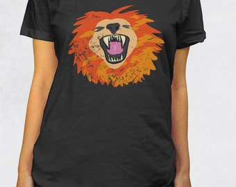 Ladies' Scoop Tee - Lion's Roar Shirt - Sizes XS-S-M-L-XL-2XL - Big Cat Zoo Animal Endangered Species Lions Womens Clothing Scoop Tshirt