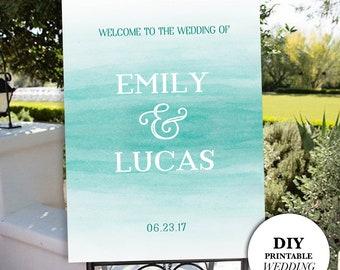 DIY Wedding Sign, Welcome Wedding Sign, Watercolor Wedding Sign, DIY Wedding Sign, Wedding Welcome Sign, DIY Printable