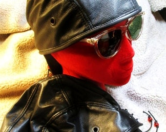 Black Leather Skullcap/ Doorag Unisex Style