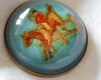 Large VINTAGE Blue Jumping Horse Bridle Rosette Brooch