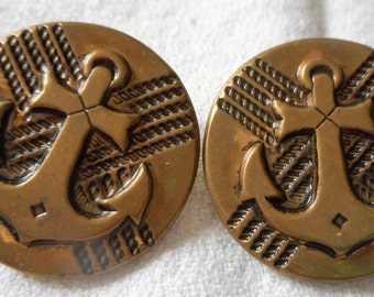 Set of 2 VINTAGE Large Anchor Metal BUTTONS