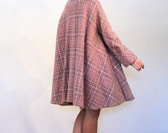 Stella, 50s Swing Coat, Pink Wool Coat, Pink Swing Coat, 1950s Pink Tweed Coat, Pink & Gray Swing Coat, Trapeze Coat, New Look Coat L