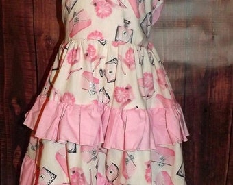 Pink Print Juliette Dress, Perfume Bottles, High Heels, Purses, Glittery, Back Bow