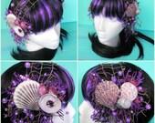 mermaid headdress - shell hair clips, purple headdress, faerie headdress, mermaid costume, dance headdress