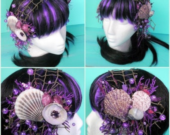 mermaid headdress - shell hair clips, purple headdress, faerie headdress, mermaid costume, dance headdress, purple