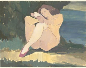 original painting - woman with white socks