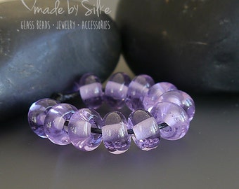 10 spacer beads | 6x10 mm | Ready To Ship | handmade lampwork beads set  |  LIGHT PURPLE  |  artisan glass  |  made by Silke Buechler