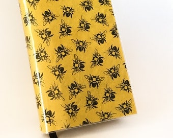 Paperback Book Cover - Reusable, Protective and Adjustable - Small Mass Market Size - Black And Yellow Bee Design on Lokta Paper