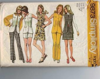 1970s Vintage Sewing Pattern Simplicity 9873 Misses Pants Shorts Mini Skirt Vest Mod Hippie Size 10 Bust 32 1/2 70s 1972