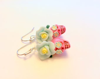 Sugar Skull Earrings Day of the Dead Skull and Rose Earrings in Pink Baby Blue Yellow