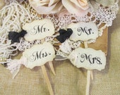 Mr. and Mrs. Wedding Cupcake Toppers Party Picks w/ribbons or lace -  Set of 12 or 18 - Choose Ribbons - Rustic Wedding Vintage Wedding