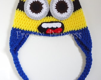 Yellow Monster Hat 5-12 Year READY to SHIP - Blue and Yellow Crocheted Monster Hat