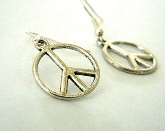 Peace Sign Earrings Silver Color Dangle Earrings