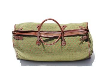 Vintage Moss Green Woven & Brown Leather Large Weekender Duffel Bag