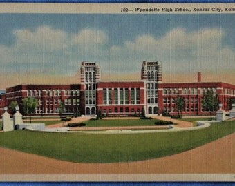 Wyandotte High School Kansas City Linen Postcard Unused